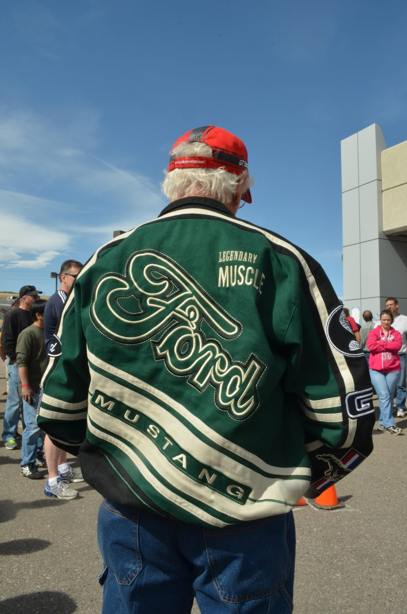 The 50th anniversary of the Ford Mustang has inspired many memories and worthy souvenirs like the commemorative jacket worn by this man attending a Mustang autocross in Broomfield in May.