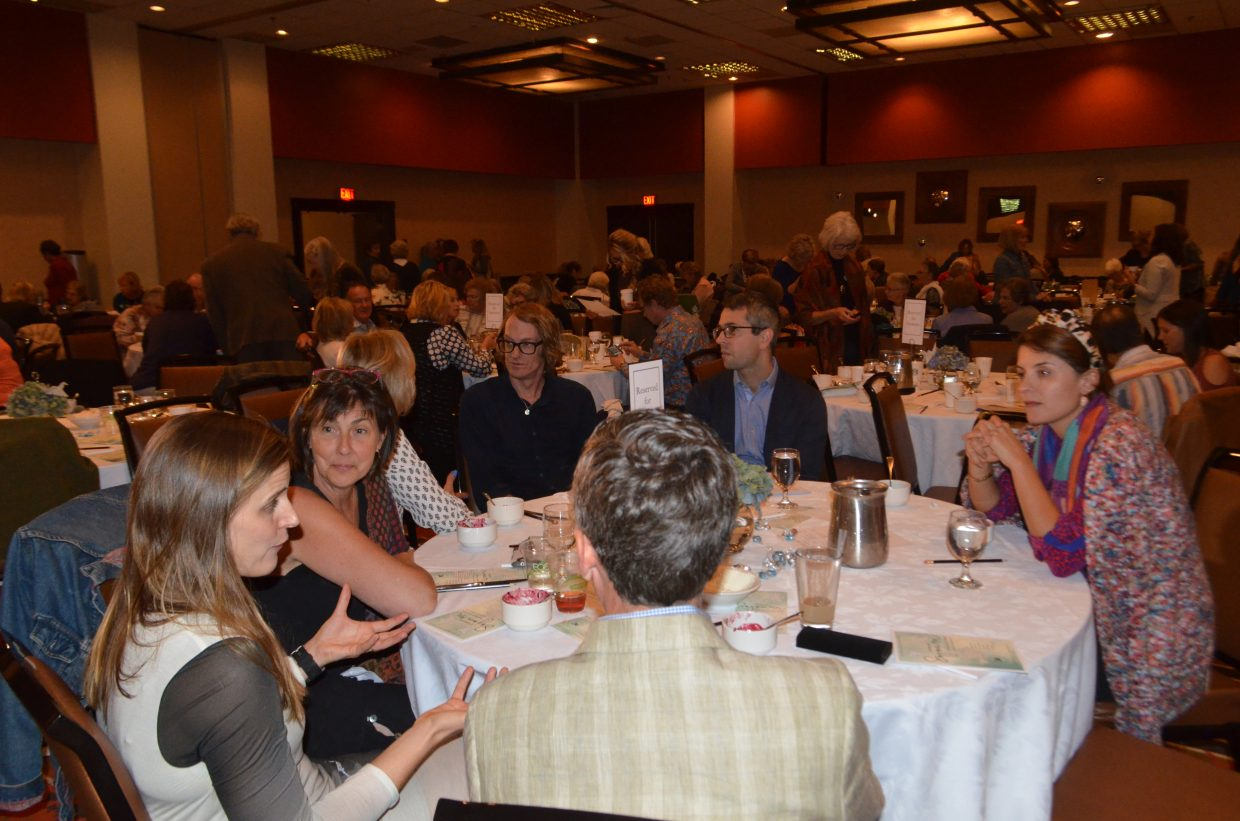 Attendees chat during Steamboat Springs' 23rd Literary Sojourn chat Sunday.