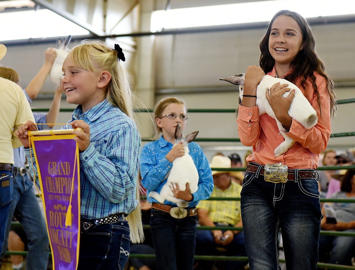Izzy Sanchez, 13, right, helps show off Haley Minnick's grand champion rabbits on Saturday at the Routt County Fair Junior Livestock sale in Hayden. Minnick missed the event to be at the 4-H state shooting competition, but got help from Sanchez, Alyvia Cox and PJ Love to sell her rabbits.