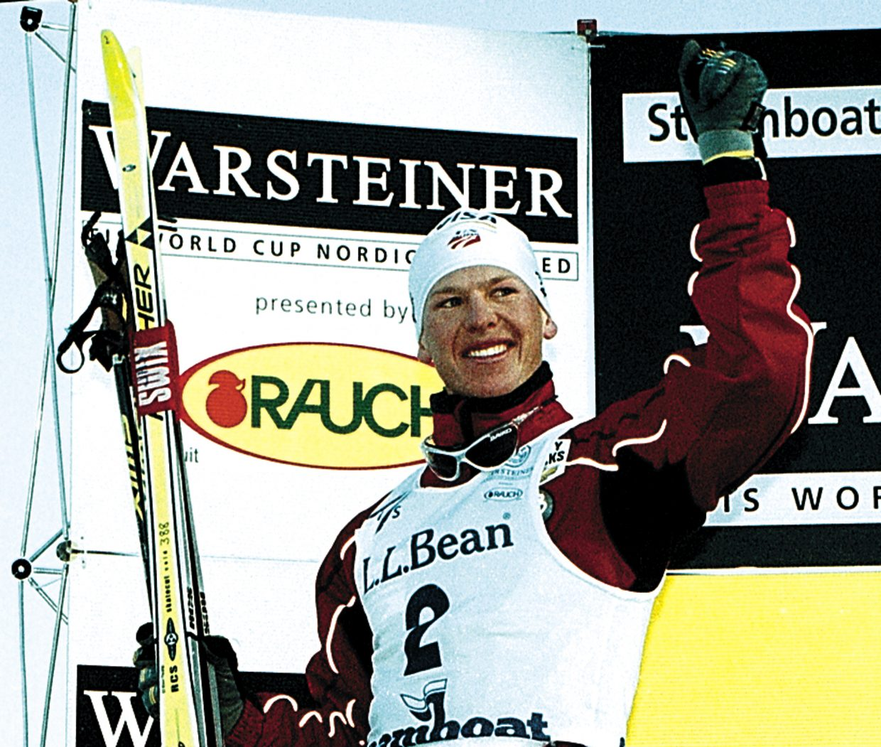 Todd Lodwick salutes the crowd on a big day on his home hill, in Steamboat Springs for a World Cup event in 2001.