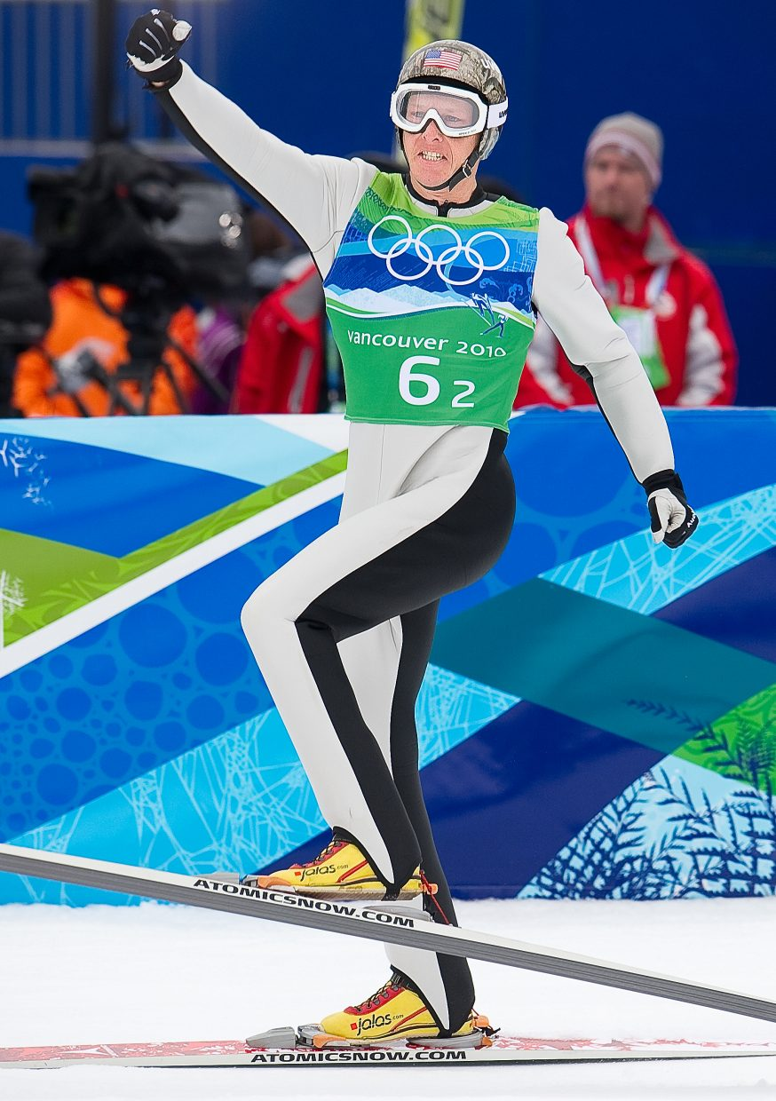Lodwick pumps his fist after a jump during the 2010 Olympics.