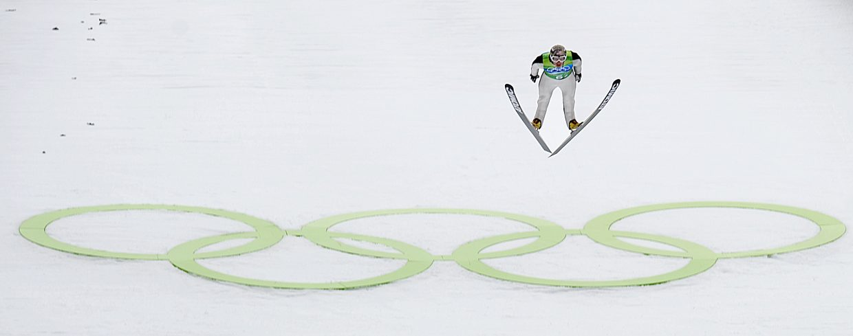 Lodwick jumps at the 2010 Olympics in Vancouver, British Columbia.