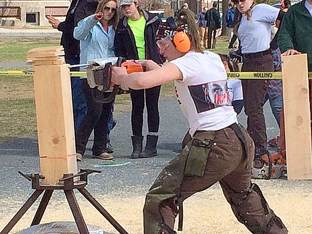 Lorin Paley, a 2010 graduate of Steamboat Springs HIgh School and a senior about to graduate with an engineering degree from Dartmouth College, takes part in a Woodsman's Meet against Colby College.