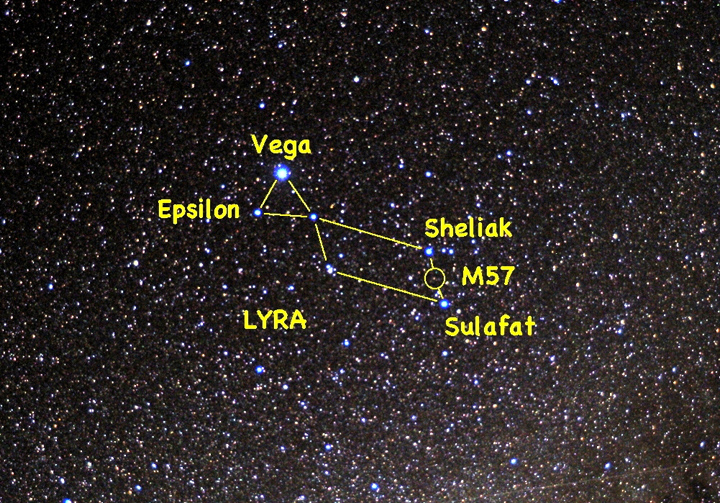 Look straight up at 8:30 p.m. this week and you will find brilliant Vega, the Alpha star in the constellation of Lyra, the Harp. See if you can split Epsilon, the double-double star, with your naked eye and look to see if Sheliak is bright or faint tonight. Aim a telescope between Sheliak and Sulafat to find M57, the famed Ring Nebula.
