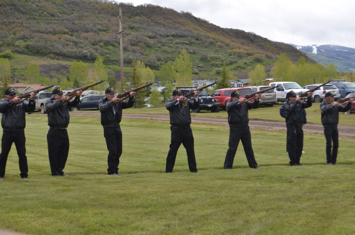 Michael Arroyo, Daniel Ward, Ed Duncan, Pat McClellan, John Long, Stew Curio and Larry Monge offered a 21-gun salute in honor of men and women of the Armed Forces who gave their lives while serving their country.