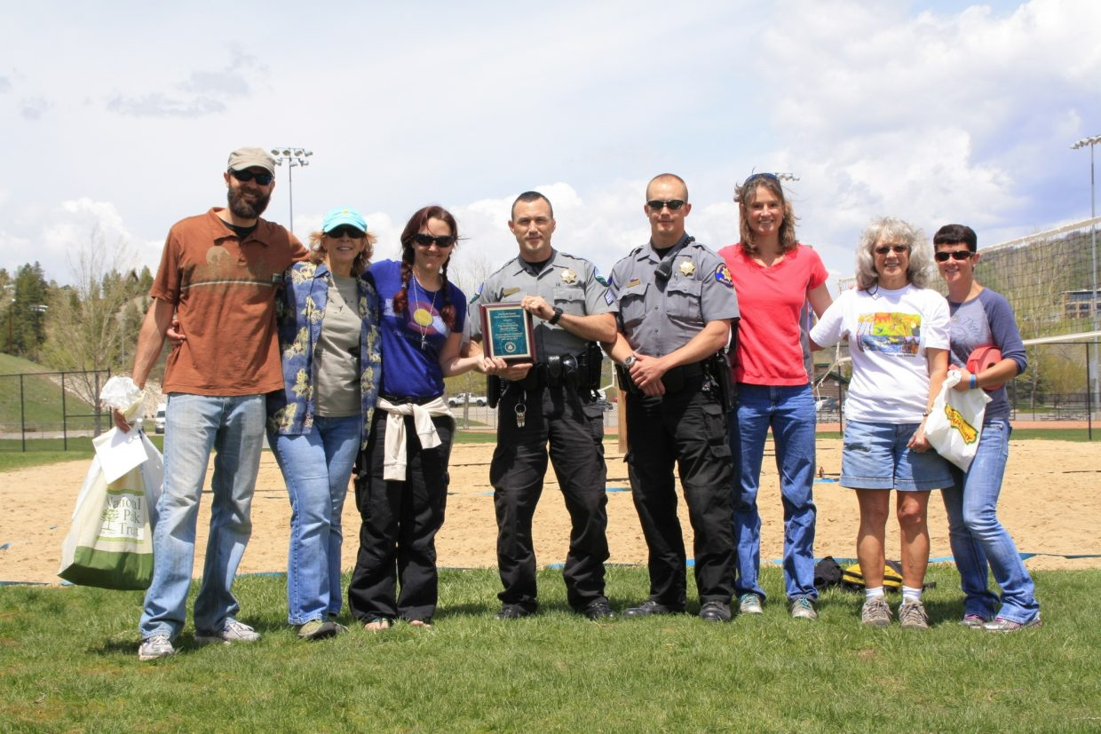 Routt County Litter Solutions Committee presenting the 2nd annual Keep it Green Keep it Clean award to the RC Sheriff's department for keeping our highways clean. Submitted by Andy Kennedy.