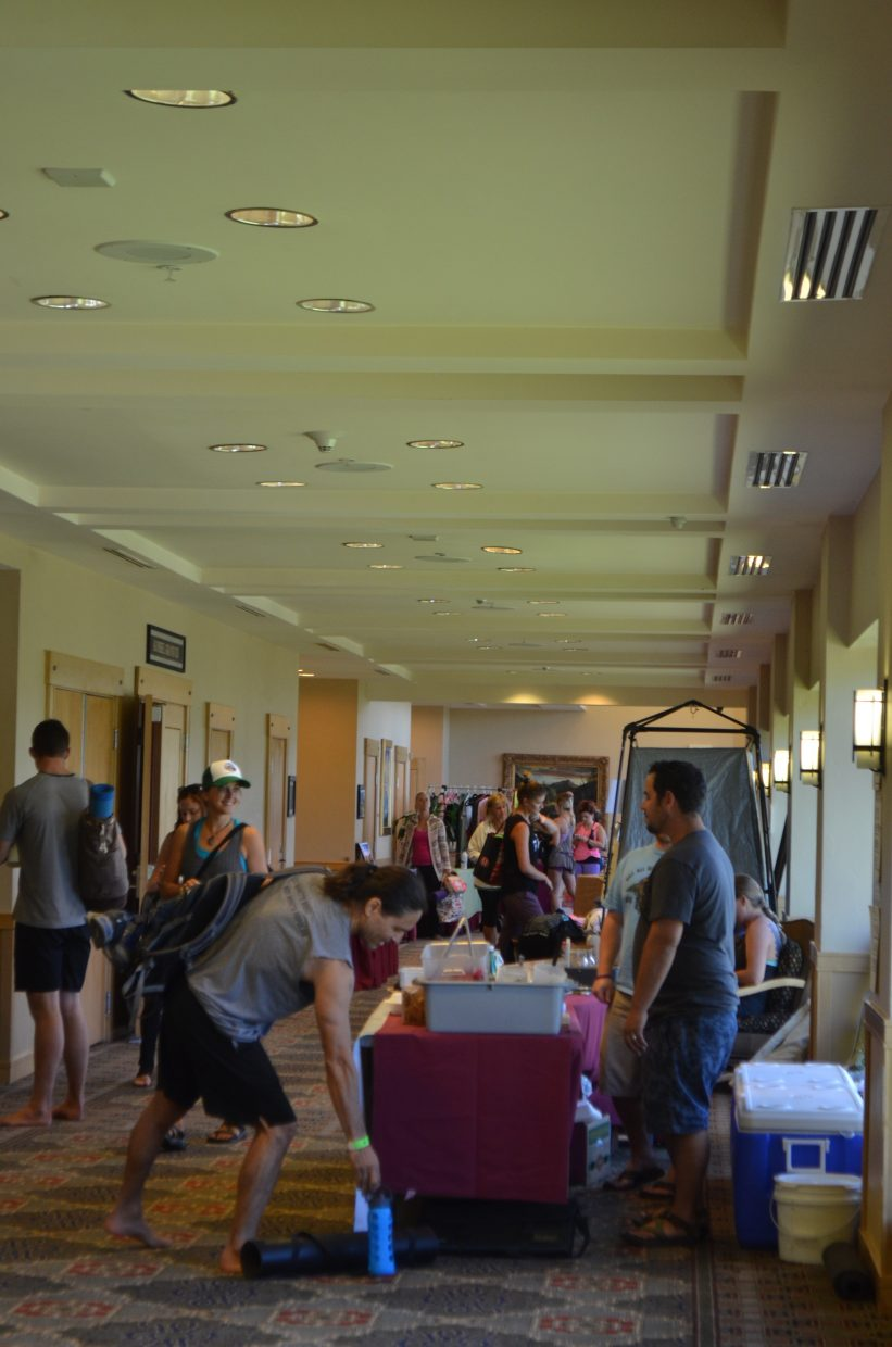At the Steamboat Movement Fest, held at the Steamboat Grand, attendees roamed the halls and chatted with vendors in between the wide variety of yoga classes.