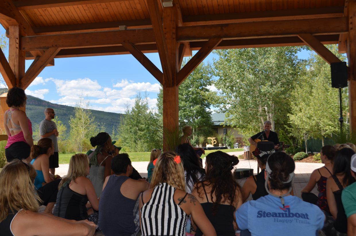 Todd Musselman gives an inspirational speech and performs a few songs to wrap up the closing ceremony of the Steamboat Movement Fest Sunday afternoon.