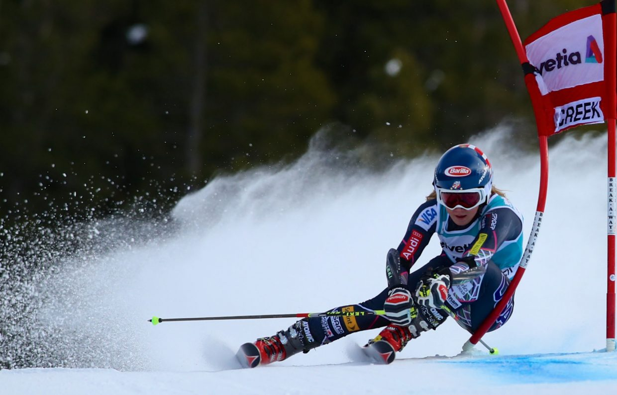 America's Mikaela Shiffrin leans into the gate as she flies down the lower section of the Raptor Women's World Cup GS course during her second run Sunday at Beaver Creek. Shiffrin won the first American podium finish of the event with a second place finish in the race behind Swedens' Jessica Lindell-Vikarby.