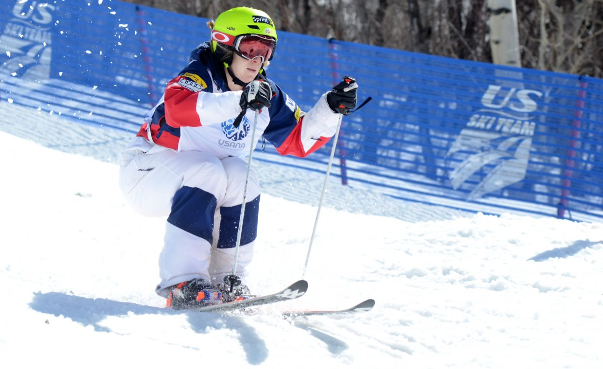 Hannah Kearney approaches the bottom jump during her finals run of the U.S. Freestyle Championships women's moguls competition on Friday at Steamboat Ski Area. Kearney closed her moguls career with a victory, edging out Nessa Dziemian and Keaton McCargo.