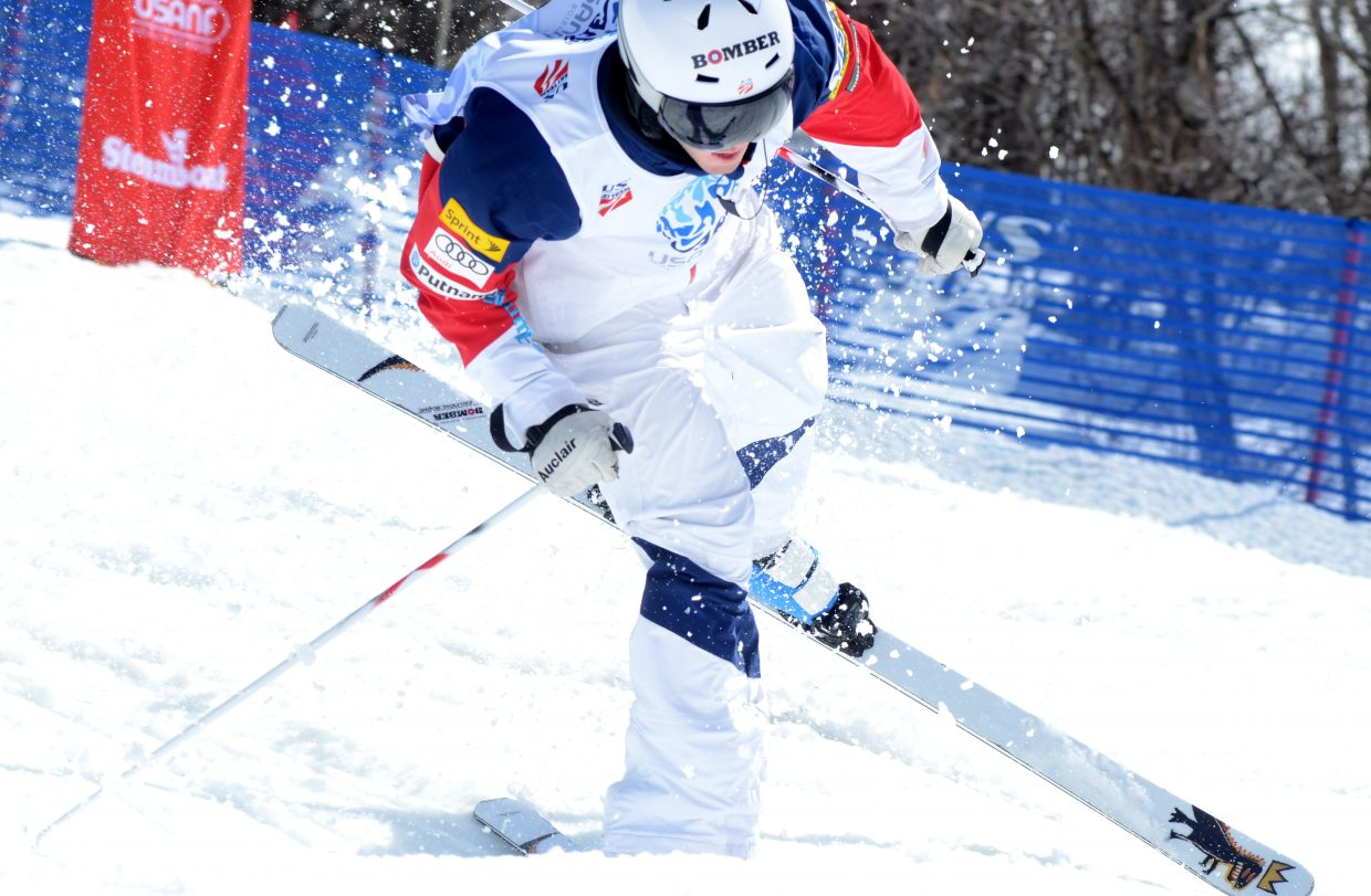 Jeremy Cota was in third place after the qualification round, but recorded a DNF after slipping near the bottom of his finals run in the U.S. Freestyle Championships men's moguls event.