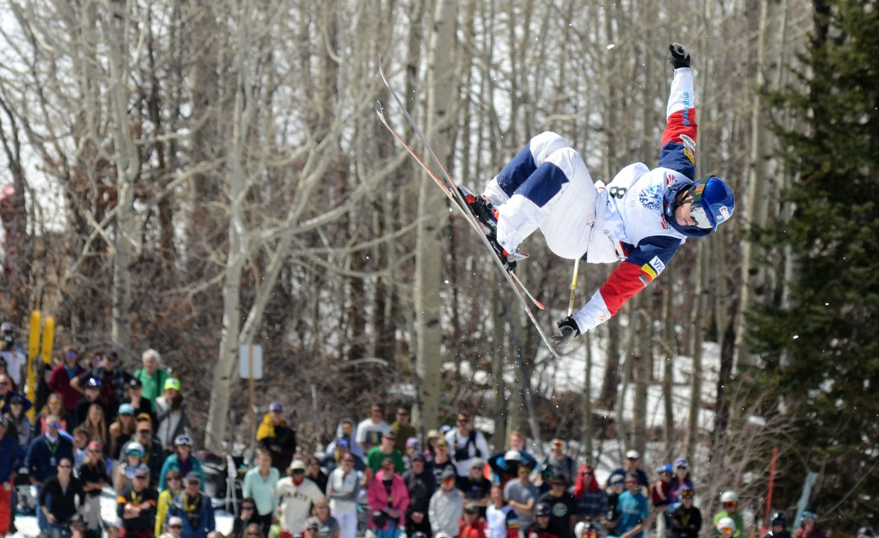 Joseph Discoe gets some air in his finals jump during the U.S. Freestyle Championships men's moguls event. Discoe finished with the silver medal.