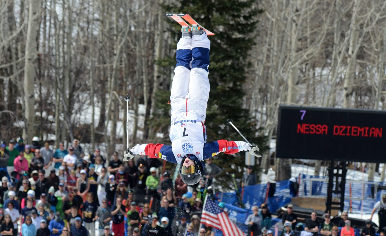 Park City's Nessa Dziemian gets vertical off the bottom jump during her finals run in Friday's U.S. Freestyle Championship women's moguls competition.