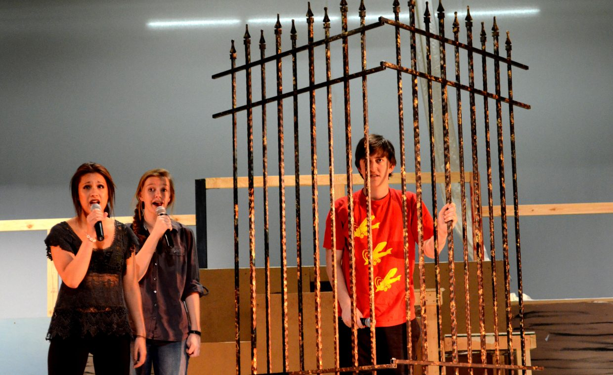 Reina Salky and Andrea Clark sing to Charlie Tish, who plays Joseph, the musical's main character. Charlie is great in the starring role with his strong sense of humor and his ability to become the character he is playing.