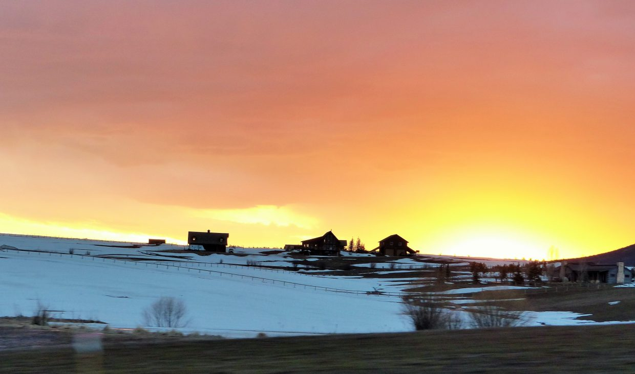 The sun setting near Stagecoach Reservoir, just outside of Steamboat. Submitted by: Shannon Lukens