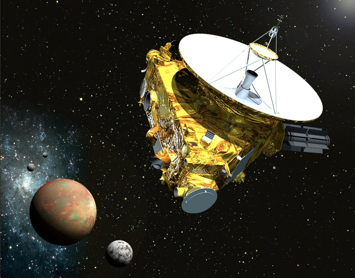 After 10 years and nearly 4 billion miles, NASA's New Horizons spacecraft will finally arrive at Pluto in July of this year. New Horizons will shoot through the Pluto system, traveling faster than a high speed rifle bullet, and open our eyes to this mysterious mini-world for the first time. Among other things, astronomers hope to learn whether or not Pluto's five moons were formed from a cataclysmic collision between Pluto and another mini-planet eons ago.
