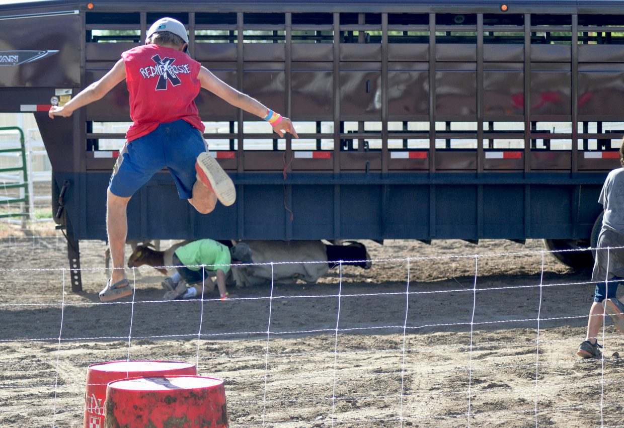 Noah Lind jumps into the goat pen while his team mate Lukas Znamenacek hazes the goats out from under the trailer in the Youth Steeplechase event at the 2014 Routt County RedneX Games in Hayden, Colorado. Submitted by: Wendy Lind