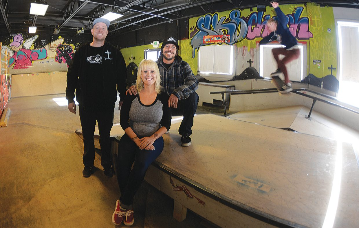 The staff at the Christ for Life SK8 Church often deals with teenagers and the topic of addiction. The staff, which includes Dave Schramm, program director, along with founders Tara (middle) and Buck Chavarria, are attempting to guide their young followers to solid life decisions while offering understanding and support on big issues like drug addiction.