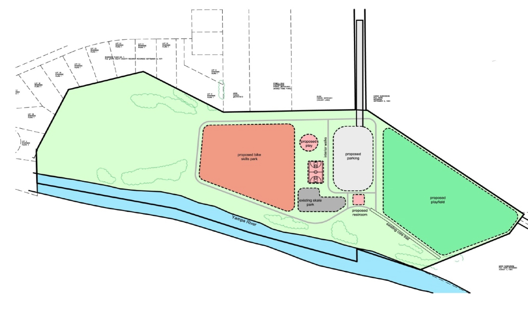 An older master plan for Bear River Park called for the construction of a new playfield that would be lit at night, a new parking area, and a new playground. The city is currently working to update this plan, and will present a new proposed conceptual design for it on Monday.