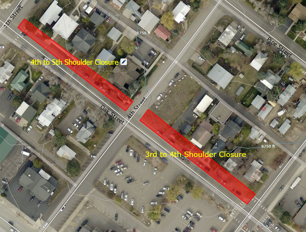 This map shows the street shoulder closure area on Oak Street for the week of Sept. 12.