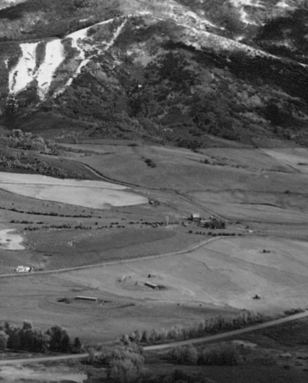 The historic Arnold Barn stands in a much quainter Yampa Valley in this photo taken in the 1960s by Jim Temple from Emerald Mountain.