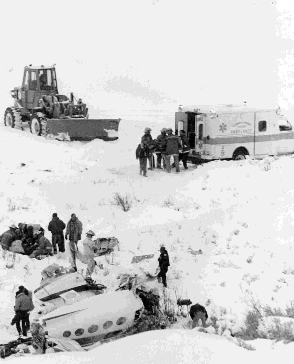 Jan. 1992 — I was watching a Broncos football game Jan. 4, 1992, when I heard the page that an airplane had run off the end of the runway at Bob Adams Field in Steamboat Springs. I jumped in my car and raced to the scene, arriving just minutes before law enforcement officers closed the scene, and so I was able to get these photos. The airplane crash was one of the worst I've ever seen at the small Steamboat Springs airport. The plane, which was later found to be overloaded, had crashed in a ravine just off the runway, killing three and injuring six.