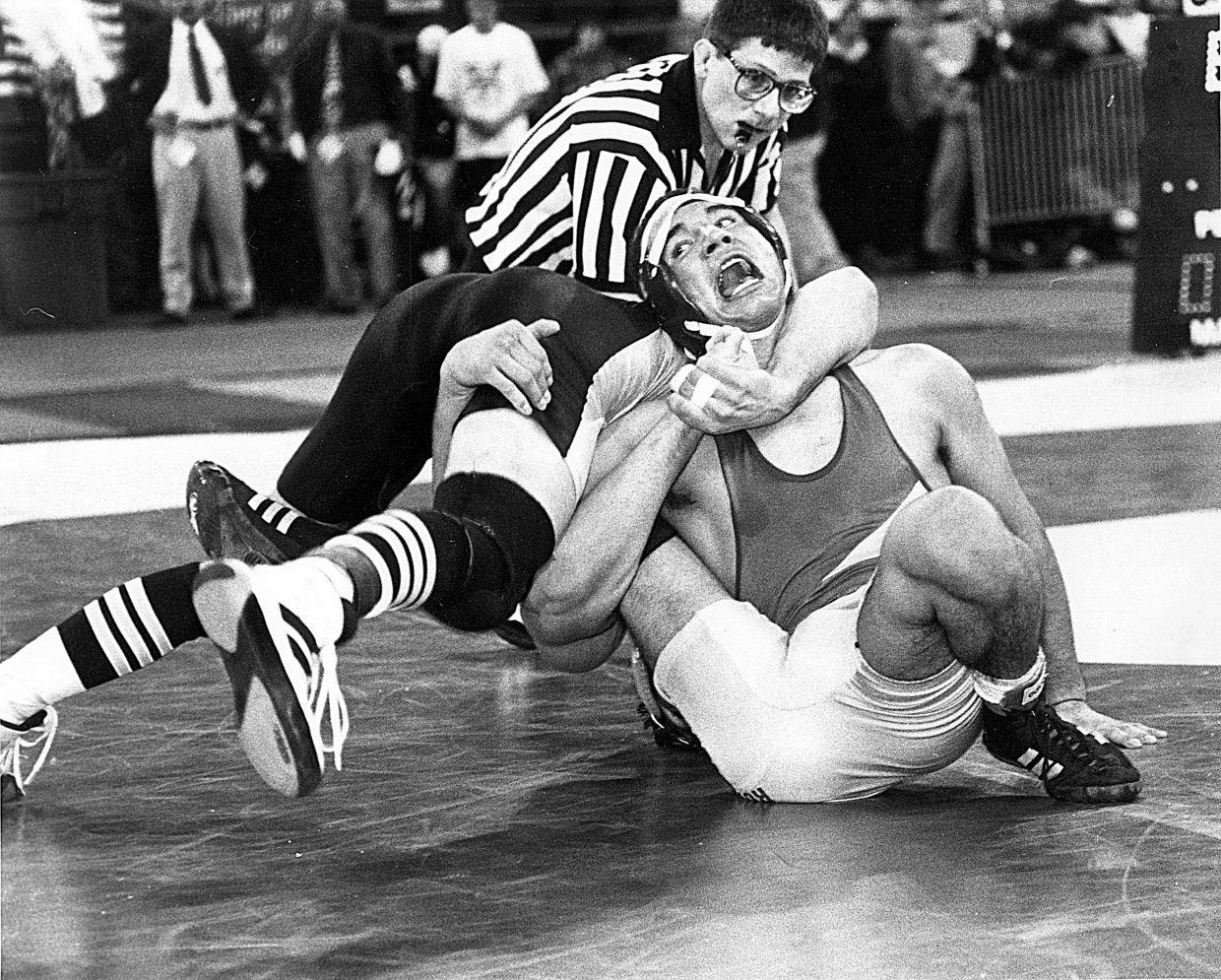 Feb. 1998 — Meeker's Isaac LeBlanc takes it to Rocky Ford senior Miguel Herrara in the 145-pound bracket of the Colorado State Wresting Championships in February 1998. Normally, I wouldn't have been covering this school, but our sister paper in Craig had asked if we might cover a couple of teams, including Meeker, that year at the championships. I think this may be my favorite wrestling photograph I have ever taken.