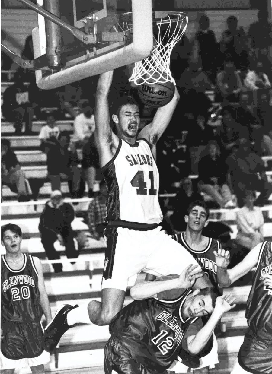 1997— Steamboat Springs' Tyson Johnson slam-dunks the ball over a Glenwood Springs player during the 1997-98 season. Johnson was a force at Steamboat Springs High School all four years but shined during his junior and senior seasons. He went on to sign with Utah as a freshman, but transferred to Arizona State for his junior and senior years.