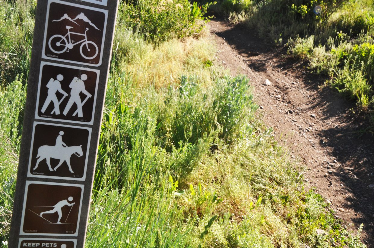 Lodging tax committee members stress at meetings that they aren't just focused on bikers when they decide which trails to build. Signs like this one on the Ridge Trail showing a variety of allowed users are common on many of the trails in and around Steamboat Springs.