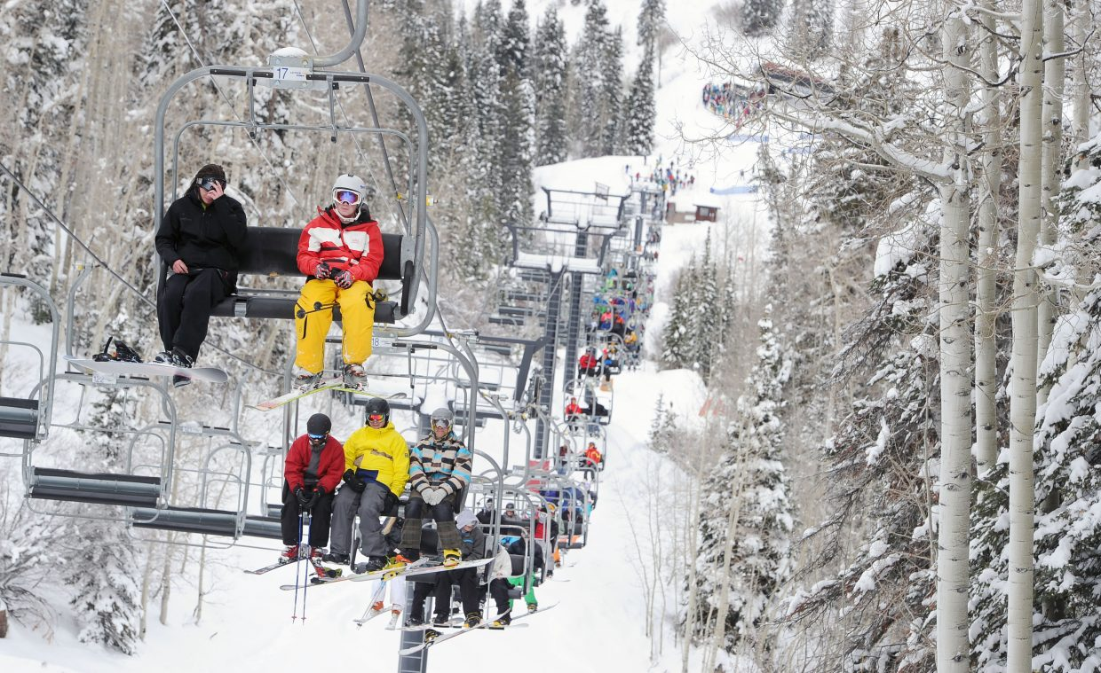 Chairlifts were busy Thursday during Steamboat Ski Area's Opening Day. Five lifts were humming during the opening, serving more than 50 trails.