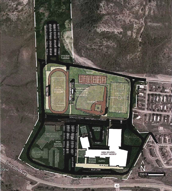 A sketch presented by Steamboat Springs School District architect SlaterPaull/HCM at Monday's facilities meeting shows how a new high school could be built on a 70-acre property currently owned by the Yampa Valley Electric Association on the western edge of Steamboat Springs. The property would have ample room to accommodate a new stadium or athletic fields, if desired.