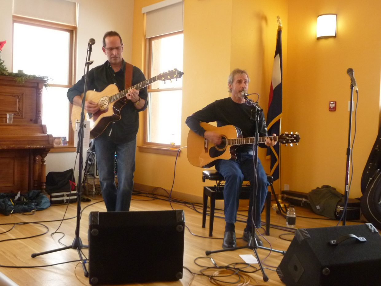 'Premium Blend' (Jim Walters & Dave Moloney) entertain yesterday at the annual Community Christmas Dinner. Submitted by: Jim Walters