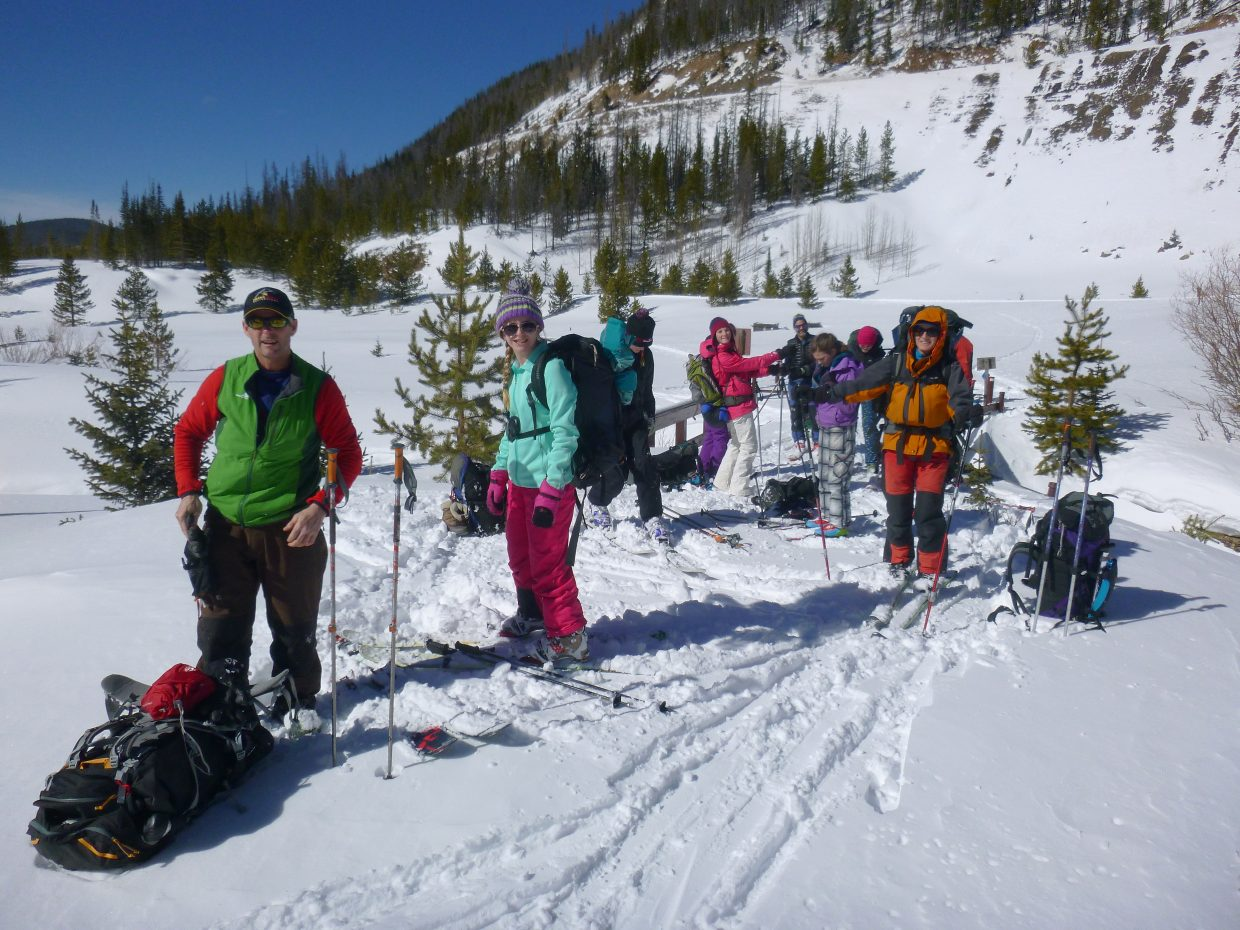 The group embarks on the annual family hut trip. The Buchanan family and friends journeyed to the Nohku and Agnes Creek huts off Cameron Pass.