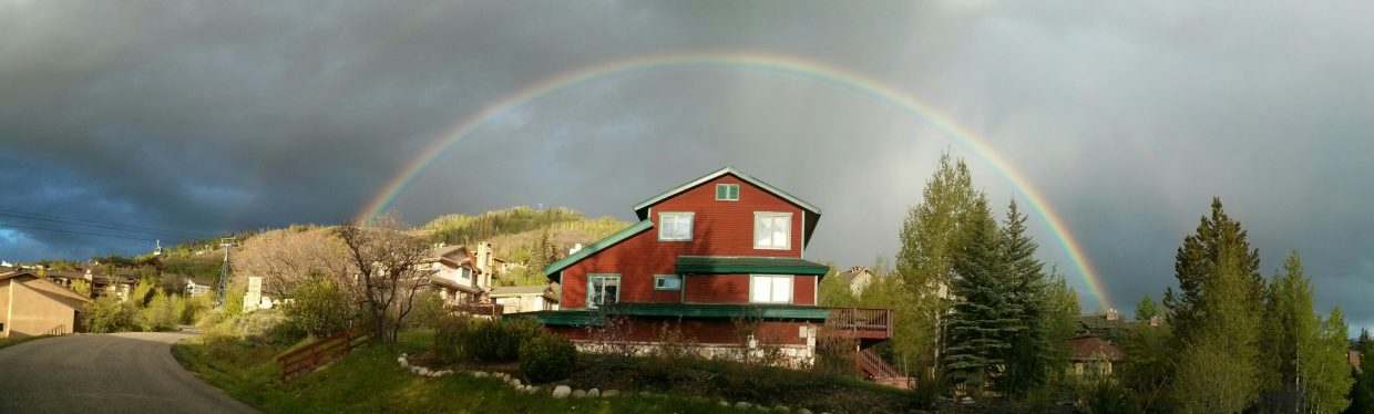Memorial Day double rainbow at Mount Werner. Submitted by Carlos Oliveira.