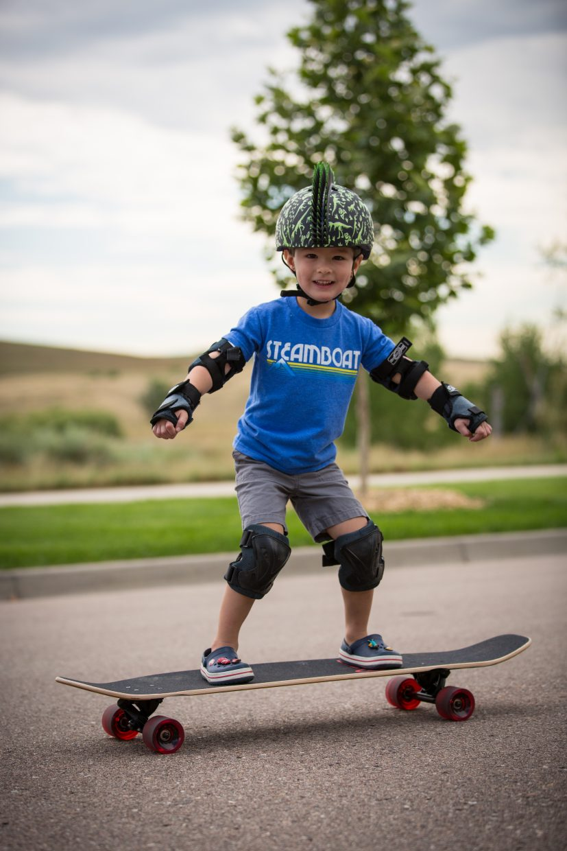 My 3 1/2-year-old loved his Steamboat trip! Learning to longboard here on the Front Range. Submitted by: Greg Moore