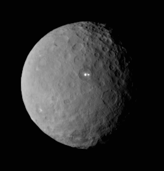 NASA's Dawn spacecraft captured this spectacular image of dwarf planet Ceres Feb. 19 from a distance of 29,000 miles. The most striking features are the two very bright spots inside of a deep impact crater. Mission scientists speculate that the bright spots might involve reflective icy lakes or icy volcanoes. Until Dawn returns closer and captures more detailed images in the weeks ahead, the true nature of Ceres' puzzling bright spots remains unknown.