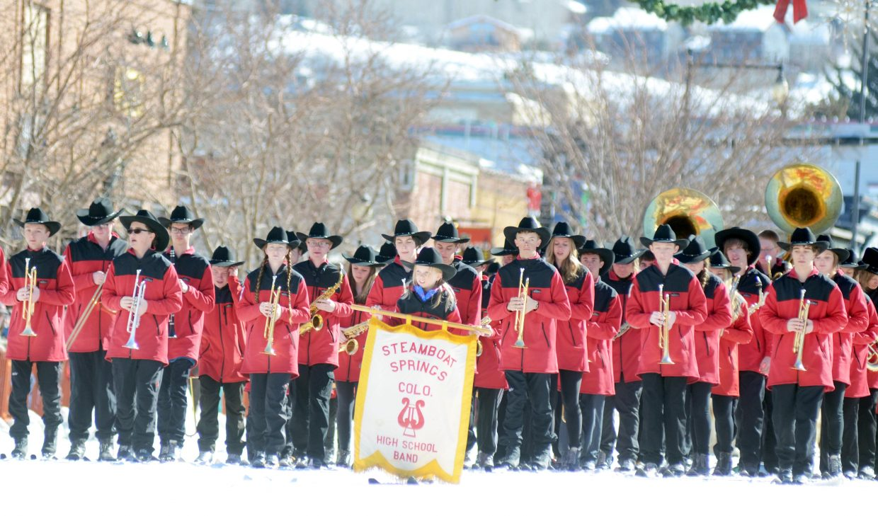 The Steamboat Springs High School marching ski band once again led the Winter Carnival's Diamond Hitch Parade.