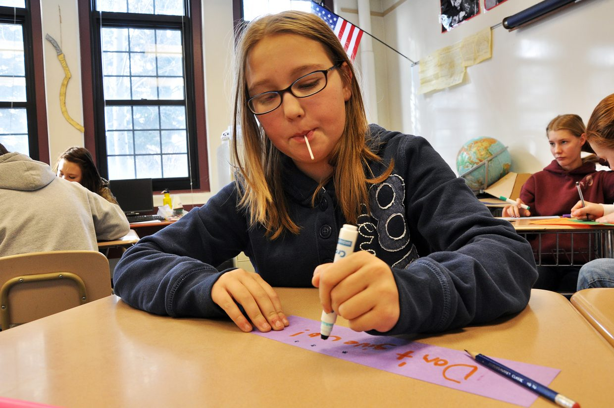 Soroco Middle School student Megan Kelliher works on a project organized by Partners in Routt County school-based mentors in 2012. Whether the school-based mentor program will continue during the 2016-17 school year is still unclear.