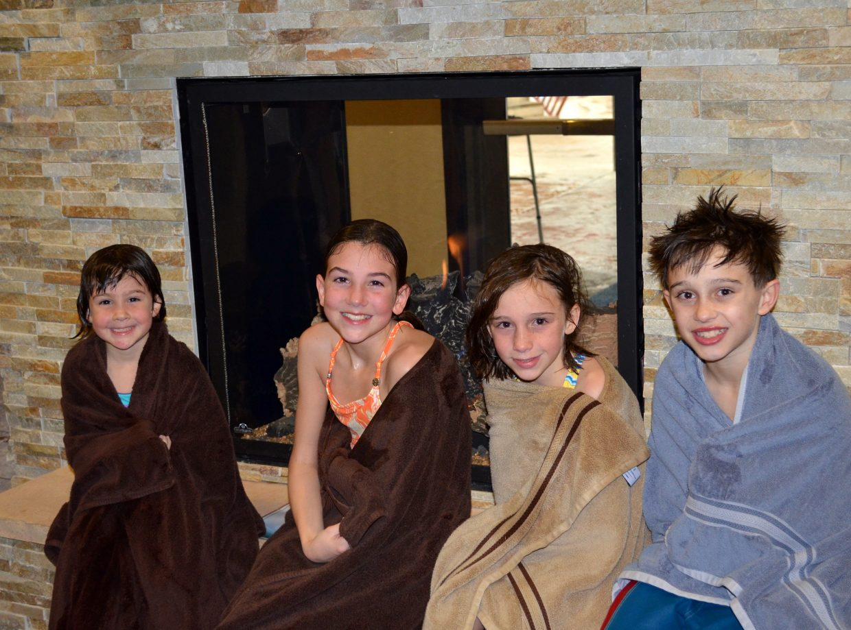 These cousins from Pennsylvania enjoyed warming up in front of the new fireplace in the Old Town Hot Springs lobby tonight. They are part of a group of 21 family members taking a ski vacation in Steamboat Springs this week. Submitted by: Shannon Lukens