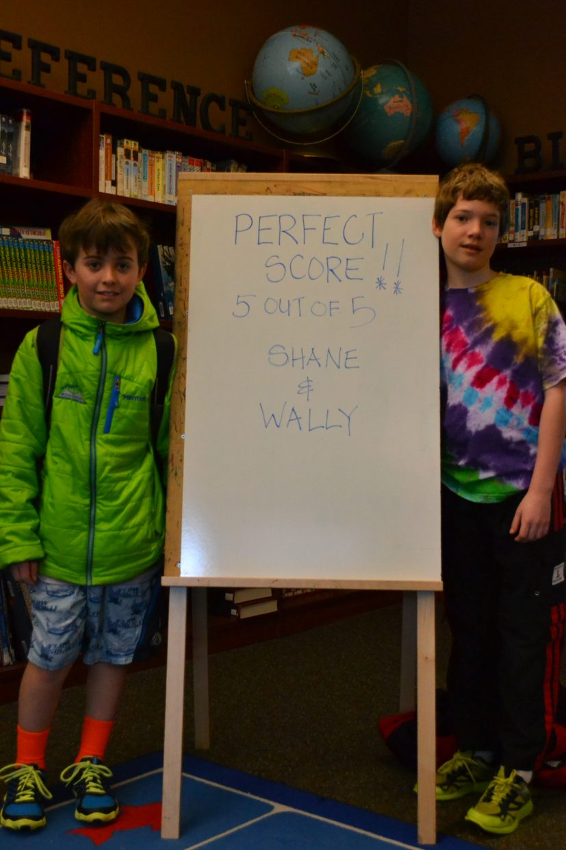 Congratulations to Wally Magill and Shane Lambert for perfect scores on the February Math Olympiad test at Soda Creek Elementary School. (photo by Mike Moore) Submitted by Sally Lambert.