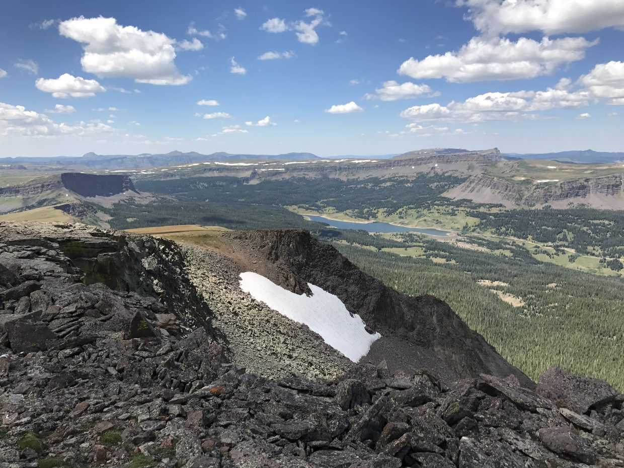 Stillwater Reservoir as viewed from the top of Flat Top Mountain.