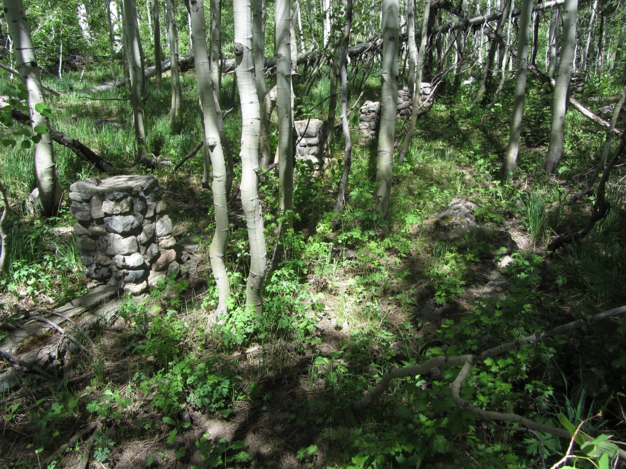 The foundation of the Slavonia House can be found near the Gold Creek Lake Trail.