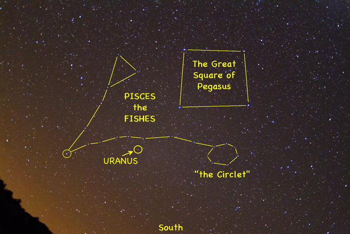 The planet Uranus is hiding among the stars of the fishy constellation of Pisces, not far from the Great Square of Pegasus. Look for it during Wednesday morning's total lunar eclipse, while the bright full moon is blotted out.