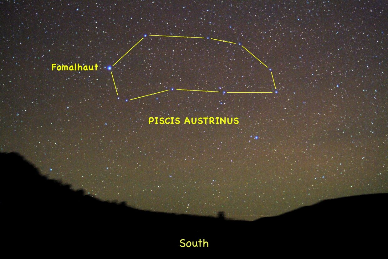 Look to the south around 10 p.m. in early to mid-October to catch a glimpse of Pisces Austrinus, the Southern Fish, and its singularly bright star Fomalhaut.