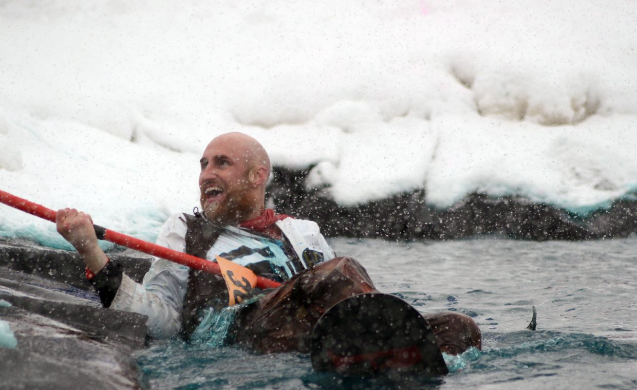 """""""The Maestro"""" Eric Stein wore some traditional Western attire when he braved the cold water at the Splashdown Pond Skim on Sunday at Steamboat Ski Area."""