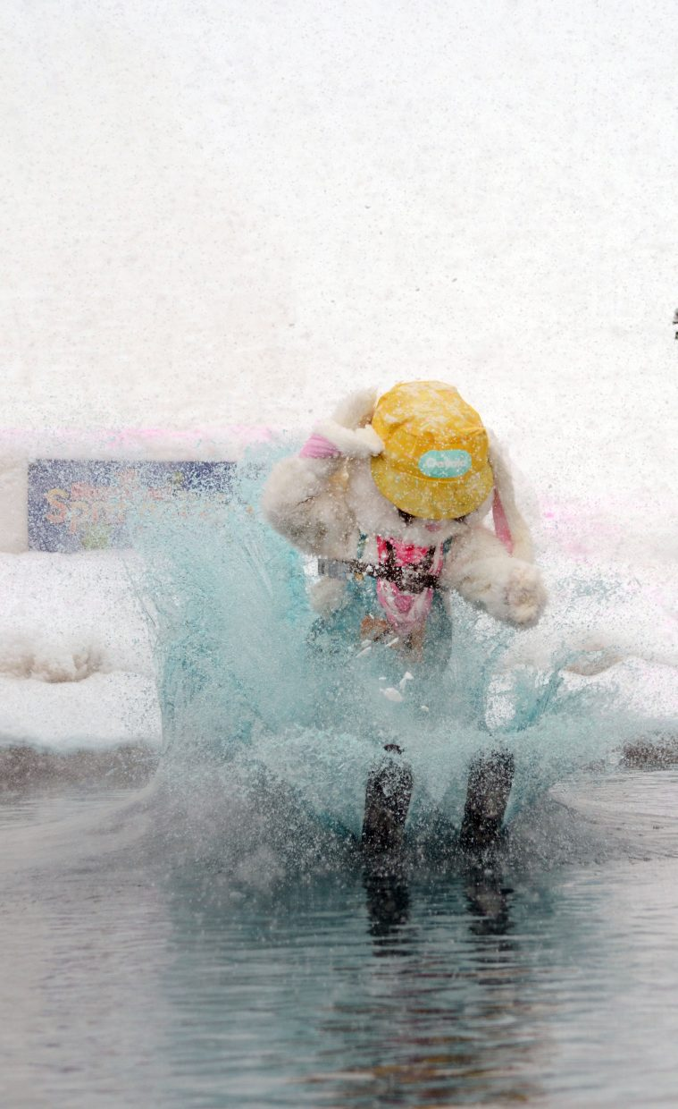 Easter Sunday still may be a week away, but Jonathon Subr took his bunny costume into the freezing water at the Splashdown Pond Skim on Sunday at Steamboat Ski Area.