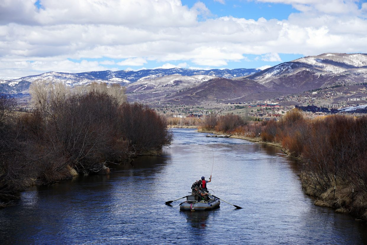 A group of fishermen sets off Saturday in search of trout on the Yampa River south of Steamboat Springs.