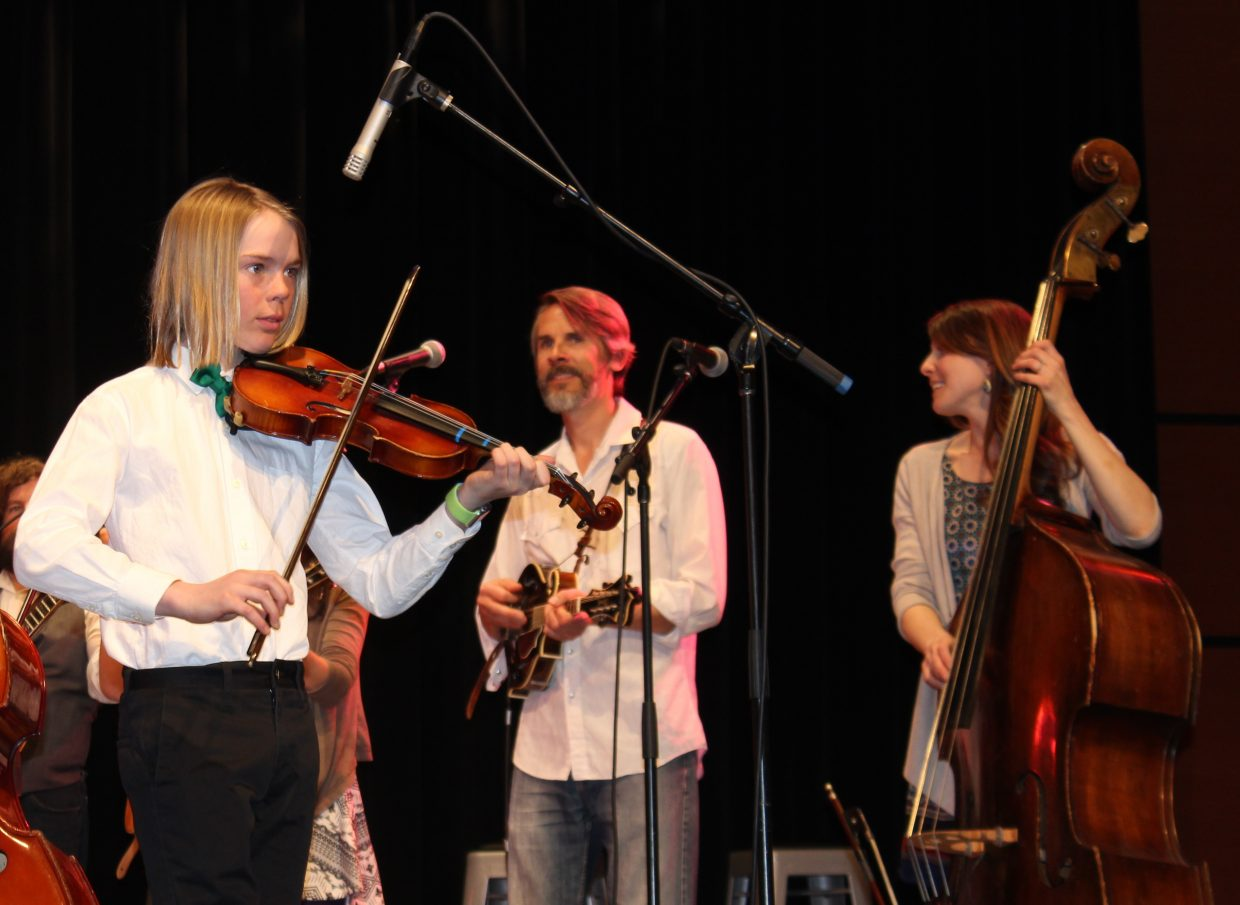 The musical collaboration event between the Boulder-based bluegrass band, The Railsplitters, the Emerald Mountain student orchestra and the Steamboat Springs Middle School bands took place Wednesday at the Strings Music Pavilion.