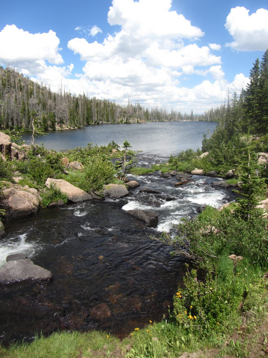 Rainbow Lake is the largest lake in the Mount Zirkel wilderness.
