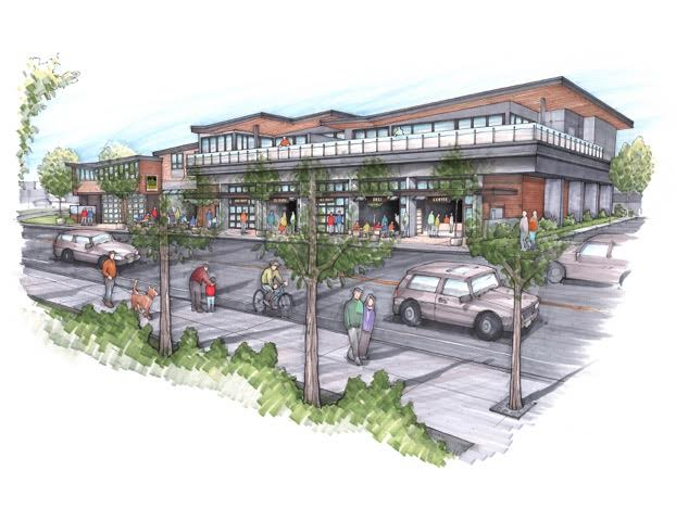 This rendering shows what the former Yampa Valley Electric Association building will look like following redevelopment.